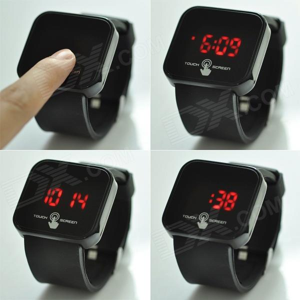"Square 1.8"" LED Red Backlight Touch Screen Wrist Watch ..."