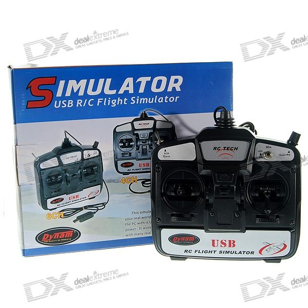 De Dynam RC Tech 6-Channel USB R / C Flight Simulator FMS Set de Software (Modo-1)