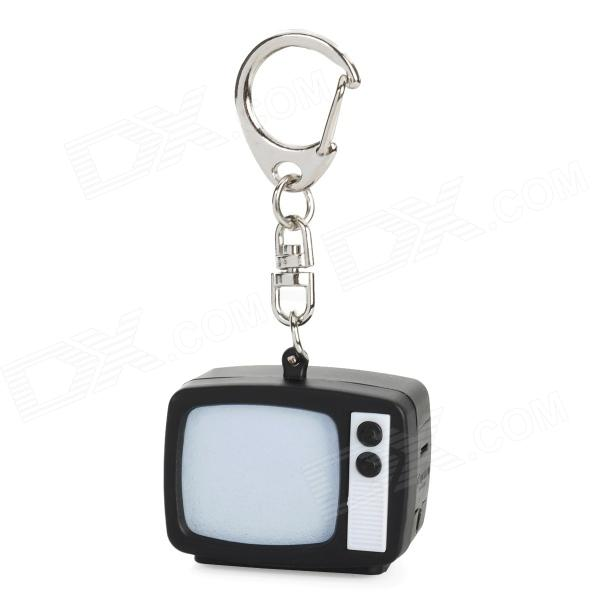 Retro TV Style Keychain w/ Cell Phone Strap / LED Light / TV Static Noise Sound - Black (3 x AG13)