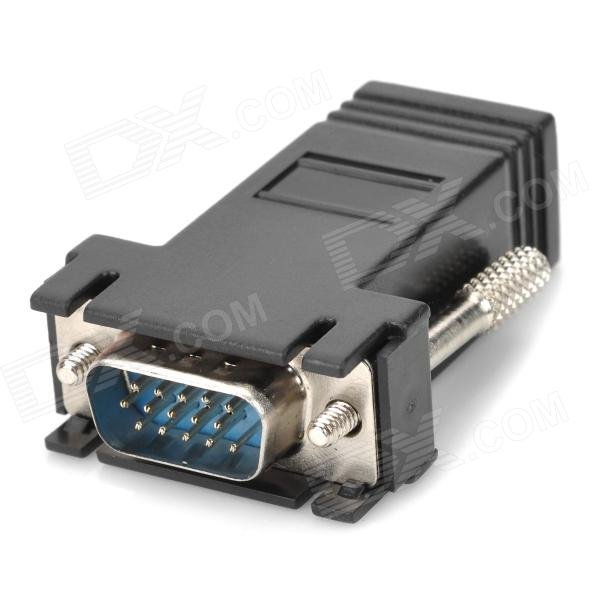 VGA Male to RJ45 Female Adapter for CAT 5 / CAT 6 - BlackAV Adapters And Converters<br>Material:Form  ColorBlackQuantity:ConnectorVGA,VGA,RJ45Packing List<br>