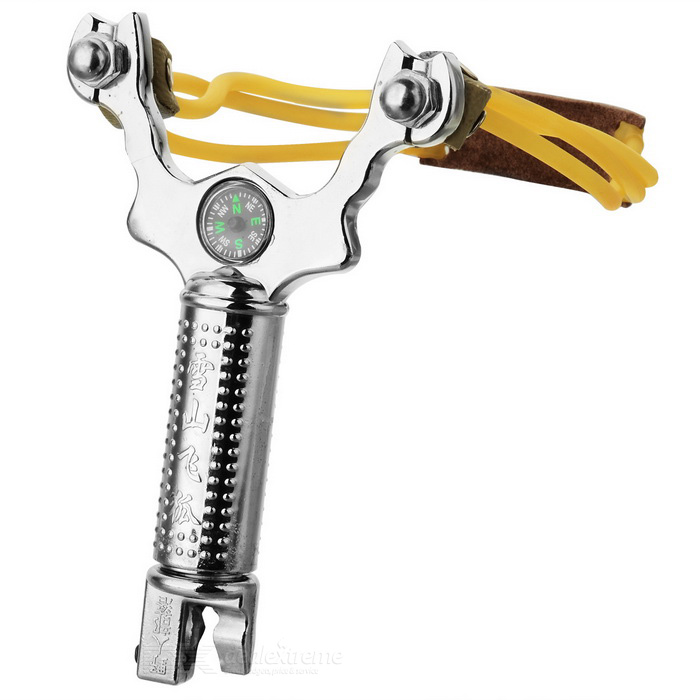 Durable Stainless Hunting Slingshot Catapult w/ 38 Balls - Silver for sale in Bitcoin, Litecoin, Ethereum, Bitcoin Cash with the best price and Free Shipping on Gipsybee.com