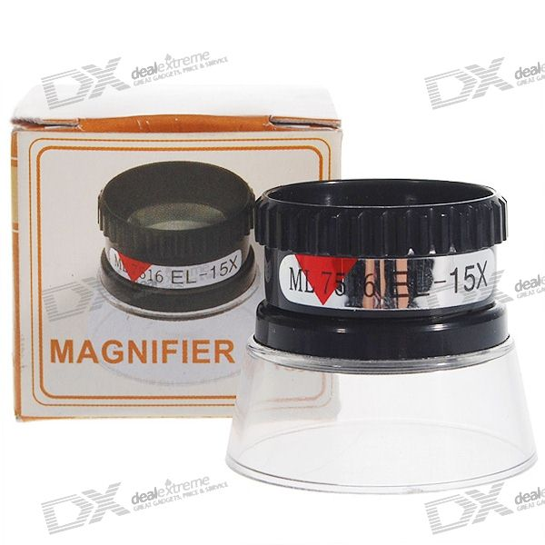 15X Close-up Map Magnifier - Black + Transparent