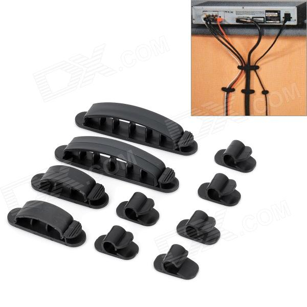 Computer Networking Wire Cord Cable Clip Organizer Kit - Black (10 PCS)Cable Management<br>Form  ColorBlackMaterial:Packing List<br>