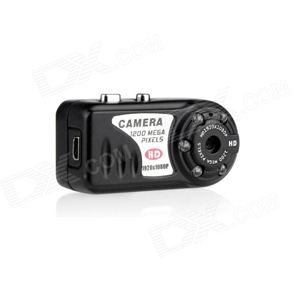 Mini 5MP HD 1080P Camera Camcorder w/ USB, TF, IR Night Vision - BlackCamcorders<br>Model:Form  ColorWhiteMaterial:Quantity:Image SensorCMOSOptical ZoomNoWide Angle:Effective Pixels:Still Image Resolution:Video FormatAVIVideo Resolution:Video Frame Rate30Audio SystemMonophonyISONoExposure CompensationNoWhite Balance ModeAutoSupports Card TypeTFBuilt-in Memory / RAMNoInput InterfaceMicOutput InterfaceAV,Micro USBSupported LanguagesEnglish,Simplified ChineseOther Features:Packing List<br>