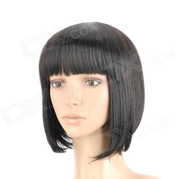 Buy ZX-9974 2# Fashion Lady's Short Natural Straight Hair Wig - Black with Litecoins with Free Shipping on Gipsybee.com