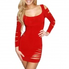 Christmas Elegant Seksikäs Cut Out Hollow Meryl Dress-Red