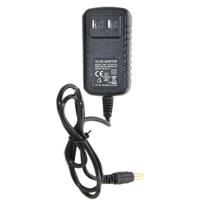 12V 1A Power Adapter Charger for Security Camera / Scanner - Black (5.5 x 2.1mm/2-Flat-Pin Plug)