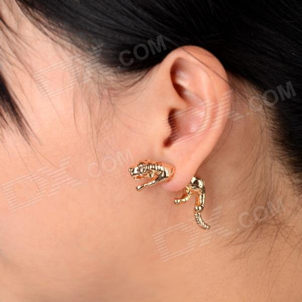 Cool Tiger Style Ear Studs Earrings Golden Pair