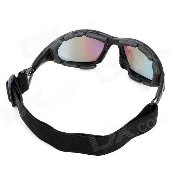 8196f8d0adf8 ... Fashion Reflective PC Lens Safety Motorcycle Goggles - Black Frame ...