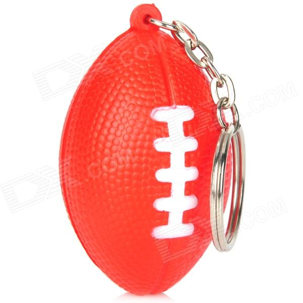 Creative American Football Shaped Sponge + Stainless Steel Keychain - Red
