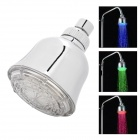 "4"" Romantic LED 3 Colors Temperature Visualizer Round Hand Shower Head - Silver (100mm)"