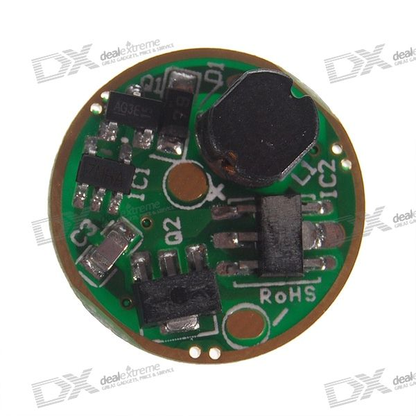 17mm 1000mA 5-Mode with Mode-Memory LEDDriver Circuit Board for Cree XR-E Emitters (0.9~4.5V Input)