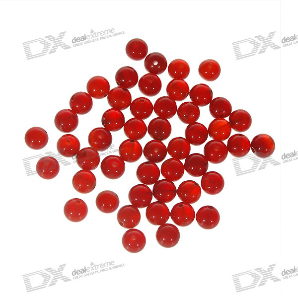 Natural Translucent DIY Red Agate Beads (50-Pack)