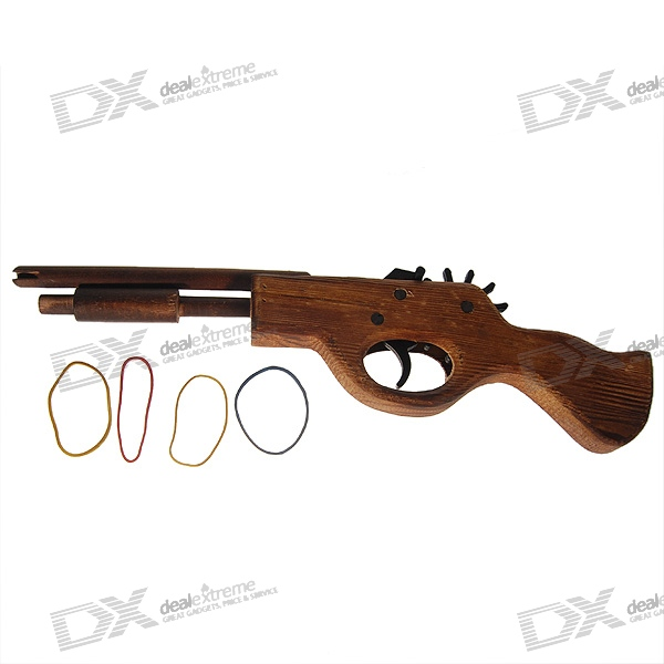 Classical Multi-Shot Rubber Band Launcher Wooden Pistol Gun (Toy)