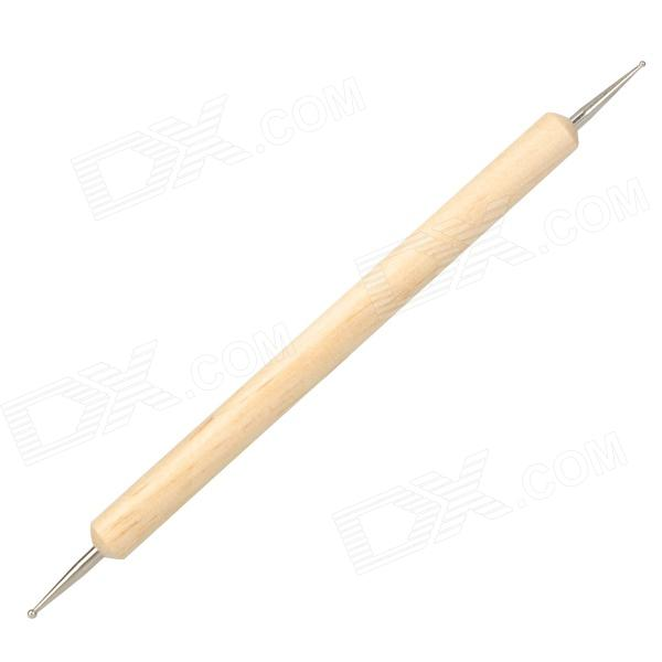 Wooden Dual-Head Nail Art Tool - Off-White + Silver - Worldwide Free ...