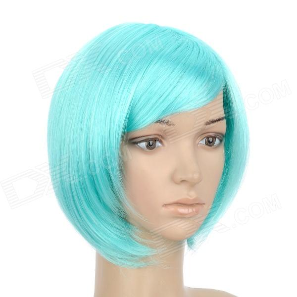 Buy H4590 BL010 Fashion Cosplay Short Straight Remy Hair Wig - Cyan with Litecoins with Free Shipping on Gipsybee.com