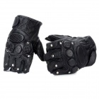 Tactical Series Finger media Guantes con Sementales - Negro (Par / Talla XL)