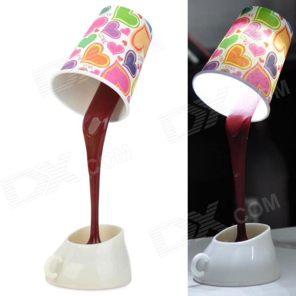 Creative Coffee Cup Style 5W Rechargeable 8-LED Light w/ USB Cable - Brown (3 x AAA)