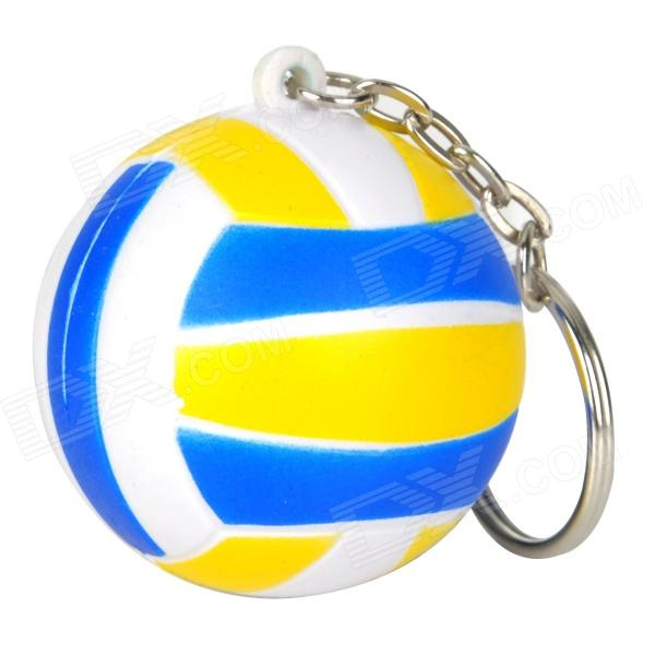 Creative Volleyball Shaped Sponge + Stainless Steel Keychain - BlueKeychains<br>Form  ColorWhiteMaterial:Quantity:Packing List<br>