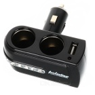 WF-201 Dual Car Cigarette Sockets Power Adapter with USB Power Port (DC 12V)
