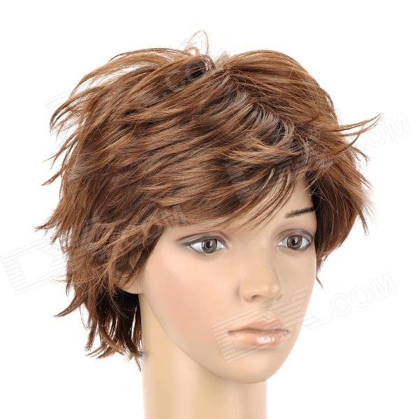 8168 230 Fashion Mans Slightly Curly Short Hair Wig Golden