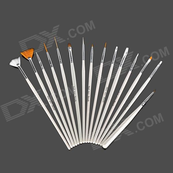Professional DIY 15-in-1 Nail Art Brushes Set - White