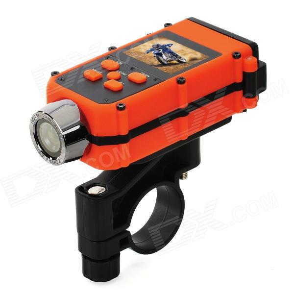 FULL HD 1.5 LCD 1080P 5.0MP Wide Angle  waterproof Bike / Motorcycle Sport Camcorder/ DVR w/ HDMISport Cameras<br>Form  ColorWhiteImage SensorCMOSAnti-ShakeYesOptical ZoomNoBuilt-in SpeedliteYesEffective Pixels5.0ImagesJPGVideoNo,MOV,TSVideo Frame Rate15,30,120Audio SystemMonophonyCycle RecordYesISONoExposure CompensationNoWhite Balance ModeAutoSupports Card TypeTFBuilt-in Memory / RAMNoInput InterfaceHDMI,MicOutput InterfaceHDMI,AV,Mini USB,Mini HDMILCD ScreenYesScreen TypeTFTBattery included or notYesVoltageDCLow Battery AlertsYesWater ResistantNOSupported LanguagesEnglish,Simplified Chinese,Traditional Chinese,Russian,ItalianPacking List<br>