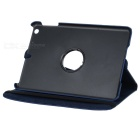 Lychee Pattern 360 Degrees Rotation Protective PU Leather Case for Ipad MINI - Deep Blue