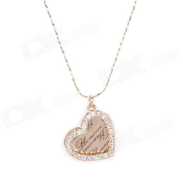 Kcchstar bk 636 heart shaped 18k gold plated alloy rhinestone kcchstar bk 636 heart shaped 18k gold plated alloy rhinestone pendant necklace golden aloadofball Image collections