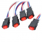DIY Push Button Hazard Light Switch with Wire - Red + Black (5 PCS)