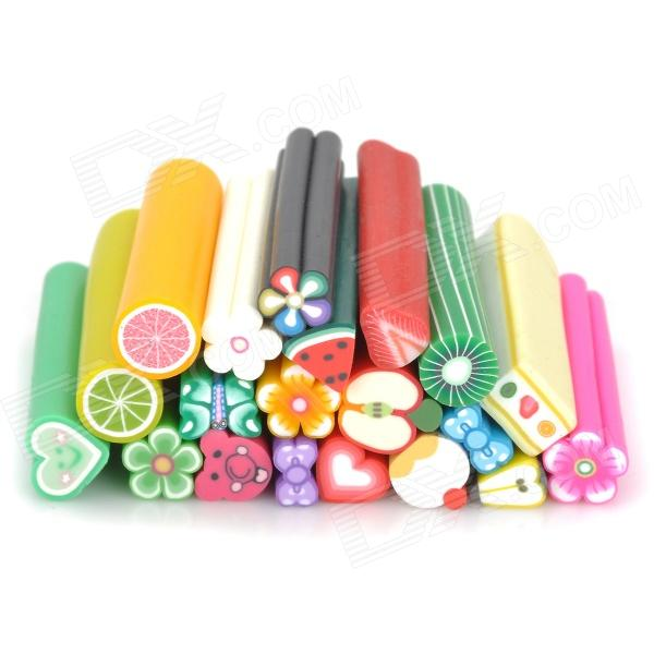 Fruit Style 20-in-1 Polymer Clay Decoration Strips Set - Multicolored