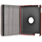 360 Degree Rotation Protective PU Leather + Plastic Case with Stand for Ipad 2 / New Ipad - Red