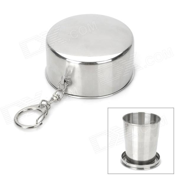 Buy Portable Stainless Steel Folding Cup w/ Keychain - Silver (120ml) with Litecoins with Free Shipping on Gipsybee.com