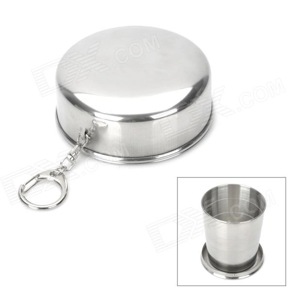 Buy Portable Stainless Steel 4-Fold Folding Cup w/ Keychain - Silver (240ml) with Litecoins with Free Shipping on Gipsybee.com