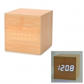 Modern-USB4-x-AAA-Powered-Wooden-Blue-LED-Alarm-Clock-w-Temperature-Display-Wood-Color
