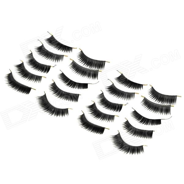 022 Makeup Natural Lengthen Thicken Artificial Eyelashes Set - Black (10 Pairs)