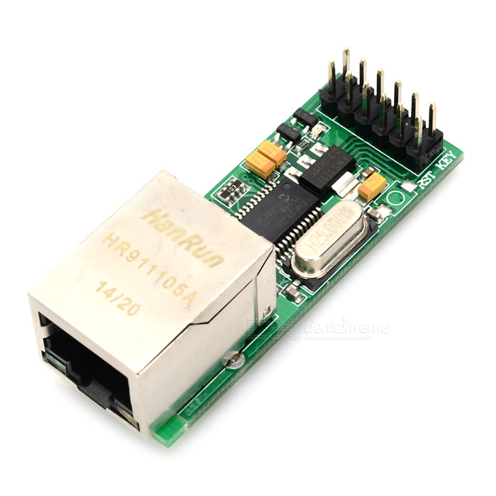 JY-MCU ENC28J60 Ethernet ModuleBoards &amp; Shields<br>ModelENC28J60Quantity1 SetForm ColorGreenMaterialGlass fiberEnglish Manual / SpecNoOther FeaturesOnboard ENC28J60 controller, Onboard AMS1117-3.3, supports 3.3V and max. 7V external input, with reverse polarity protection, Tantalum capacitor filtering, With SPI port and WOL,INT,CLKOUT, RST portsPacking List1 * Ethernet Module<br>