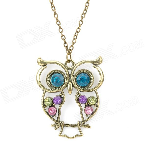 Owl Style Zinc Alloy Pendant Necklace w/ Rhinestone - Bronze + Green