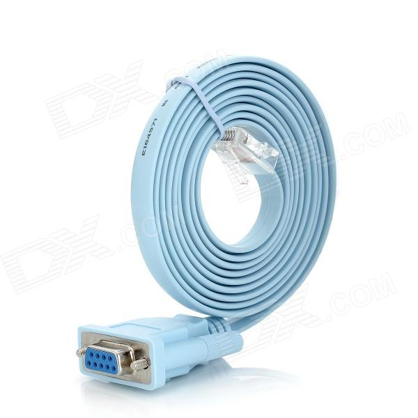 RJ45 Male to Serial DB9 9-Pin Female Adapter Cable - Light Blue (1.5m)