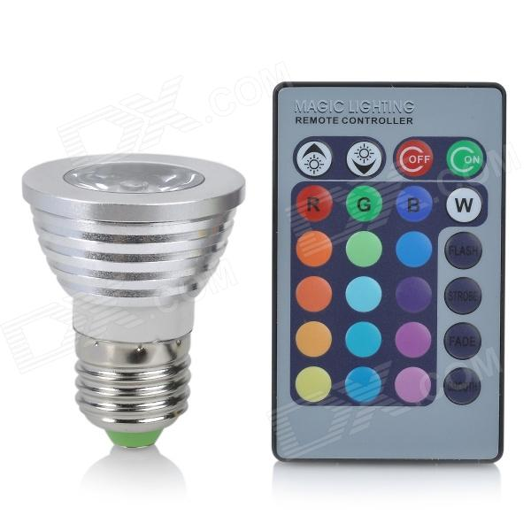 E27 3W 16-Color LED Decorative Lamp w/ Remote Control - Silver + White for sale in Bitcoin, Litecoin, Ethereum, Bitcoin Cash with the best price and Free Shipping on Gipsybee.com