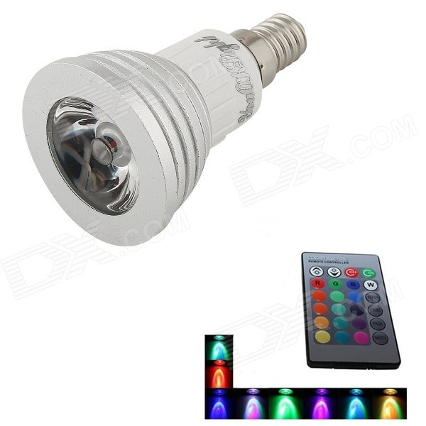 E14 3W 1-LED 16-Color dekorative Lampe mit Fernbedienung (AC 90-240V)