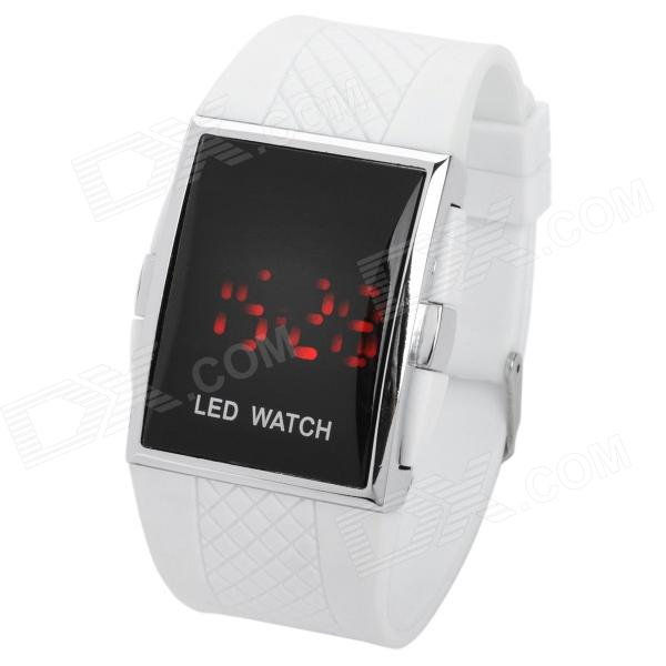 Stylish Rubber Band Square Mirror Red LED Digital Waterproof Wrist ... a78dc325cb