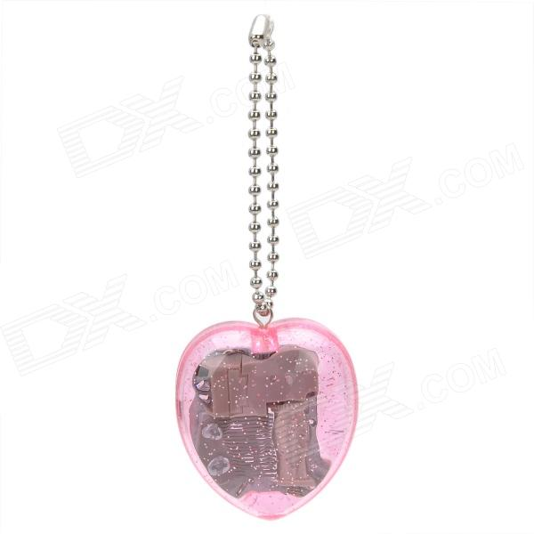 Mini Love Heart Style Wind-Up Mechanical Music Box w/ Keychain - Pink