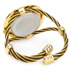 Fashion Woman's Zinc Alloy Band Quartz Analog Waterproof Bracelet Wrist Watch - Golden + More