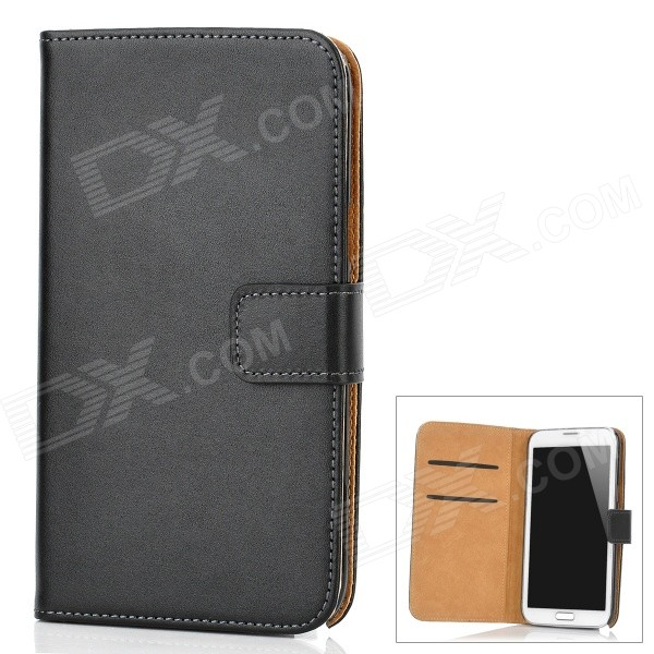 Protective Genuine Leather Case w/ Card Holder for Samsung Galaxy Note II N7100 - Black