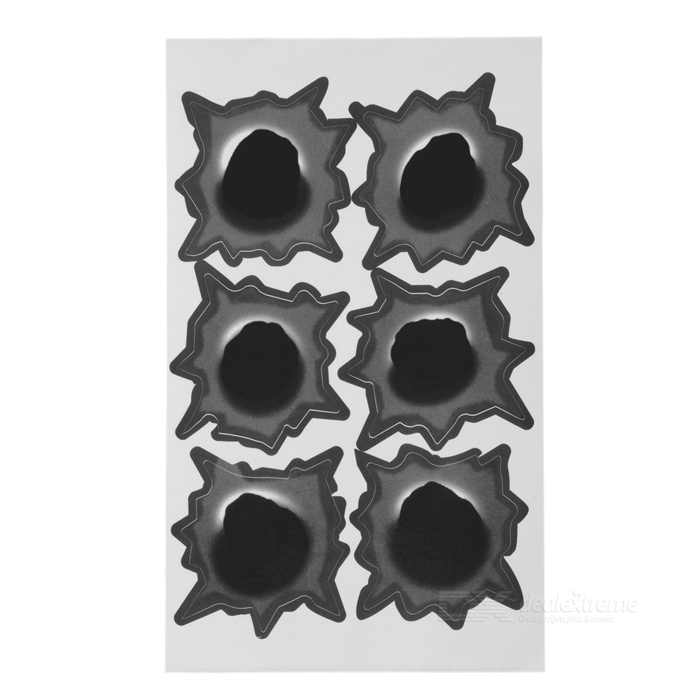 Special Decorative 6-Bullet Big Hole Style Car Sticker - Grey