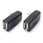 Micro USB 5-Pin Male to USB Female OTG Adapter - Black (2PCS)