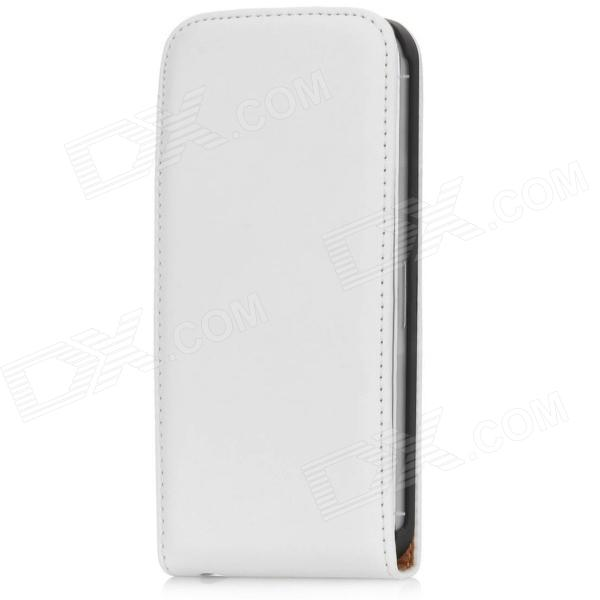 Top Flip funda de cuero-Up Abrir protectora de la PU para Iphone 5 - Blanco