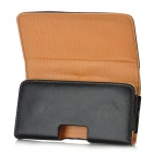 M3502 Flip-Open PU Leather Waist Case for Iphone 5 - Black