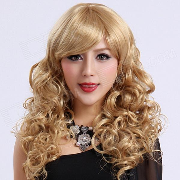 Buy Finding Color FCWG038 Fashionable Lady's Diagonal Bangs Long Curly Hair Wig - Golden with Litecoins with Free Shipping on Gipsybee.com